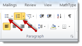 Ordered and unordered list icons in the Paragraph pane