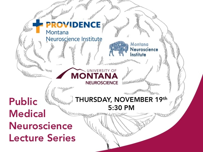 Graphic of a brain. Text reads: Public Medical Neuroscience Lecture Series