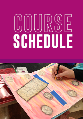 "A picture of someone drawing and it says ""Course Schedule"""