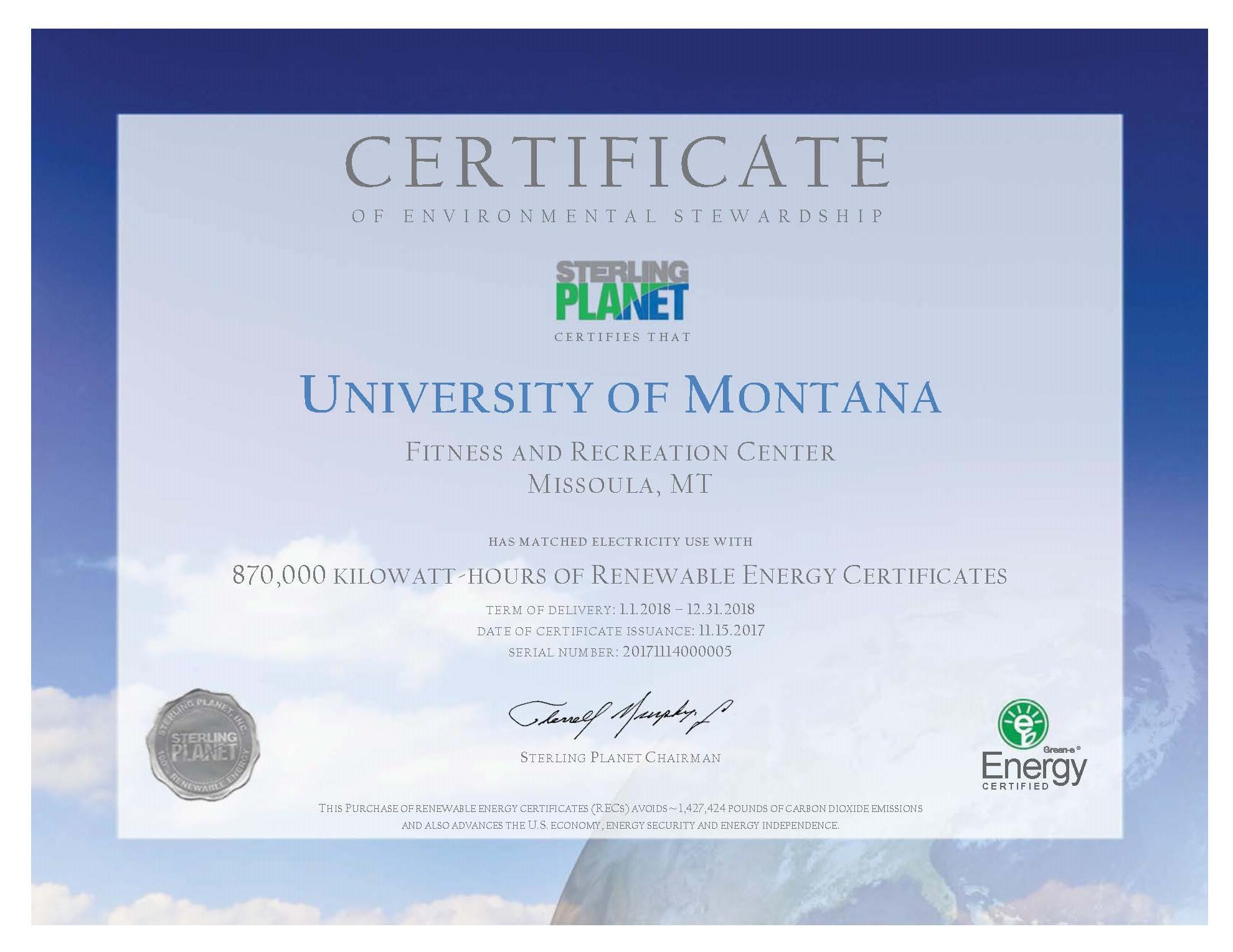 Sustainability campus recreation about us university of montana renewable energy certificate xflitez Gallery