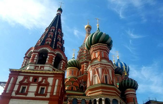 The colorful turrets of Saint Basil's cathedral in Moscow, Russia.