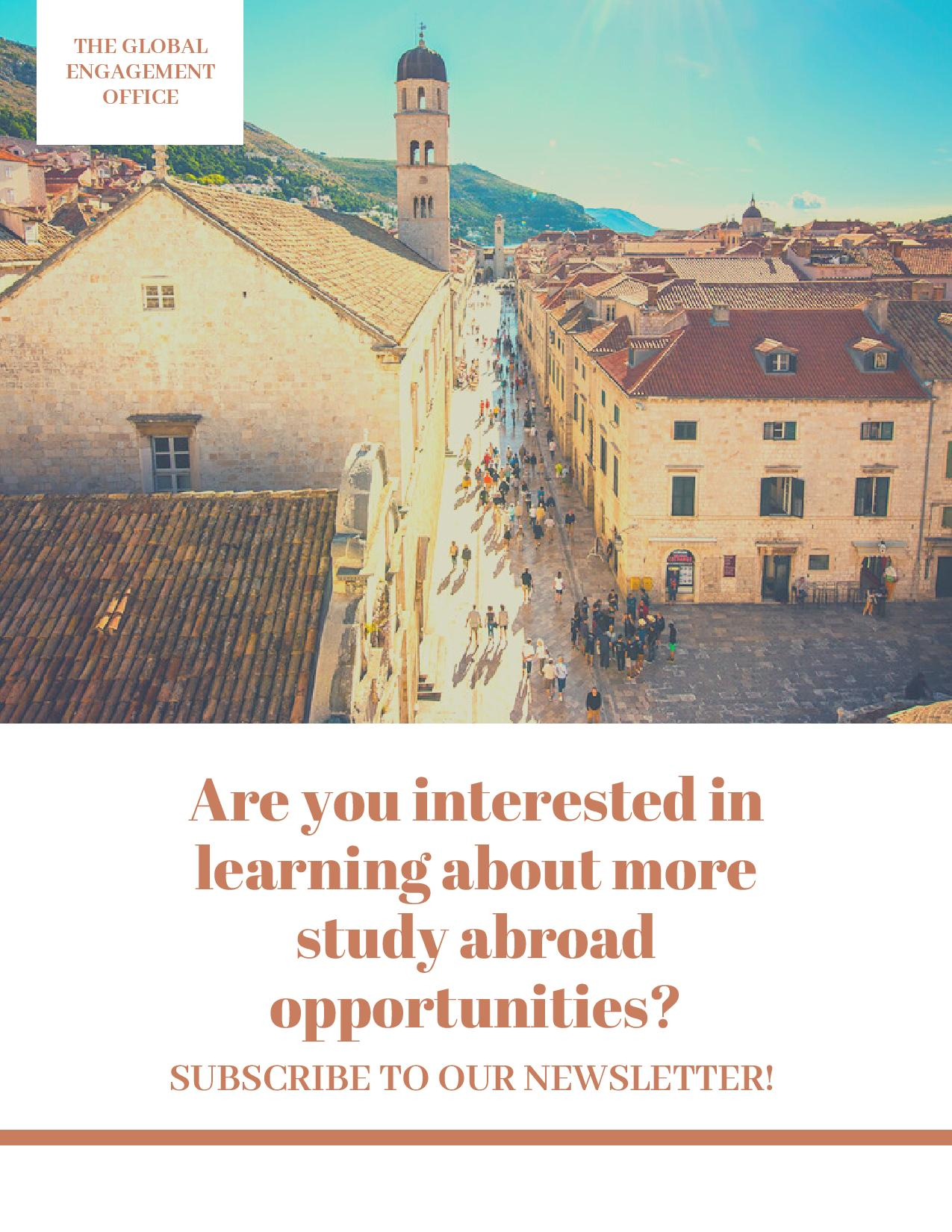 This flyer asks, are you interested in learning more about study abroad opportunities? It so, you should subscribe to our newsletter! At the bottom of the flyer, the same link found in the description is provided.
