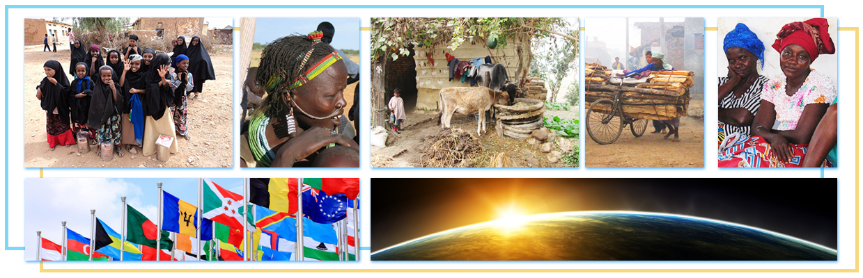 collage of people in traditional clothing, silhouette of earth from space, man with donkey and sticks, smiling women
