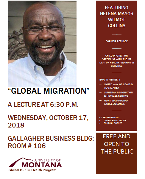 Flyer for global migration lecture by Helena mayor Wilmot Collins