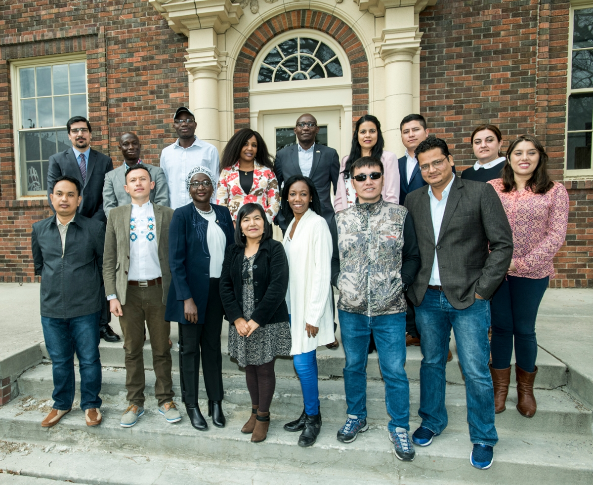 Group photo of the 2018 Hubert H. Humphrey Fellows at the University of Montana