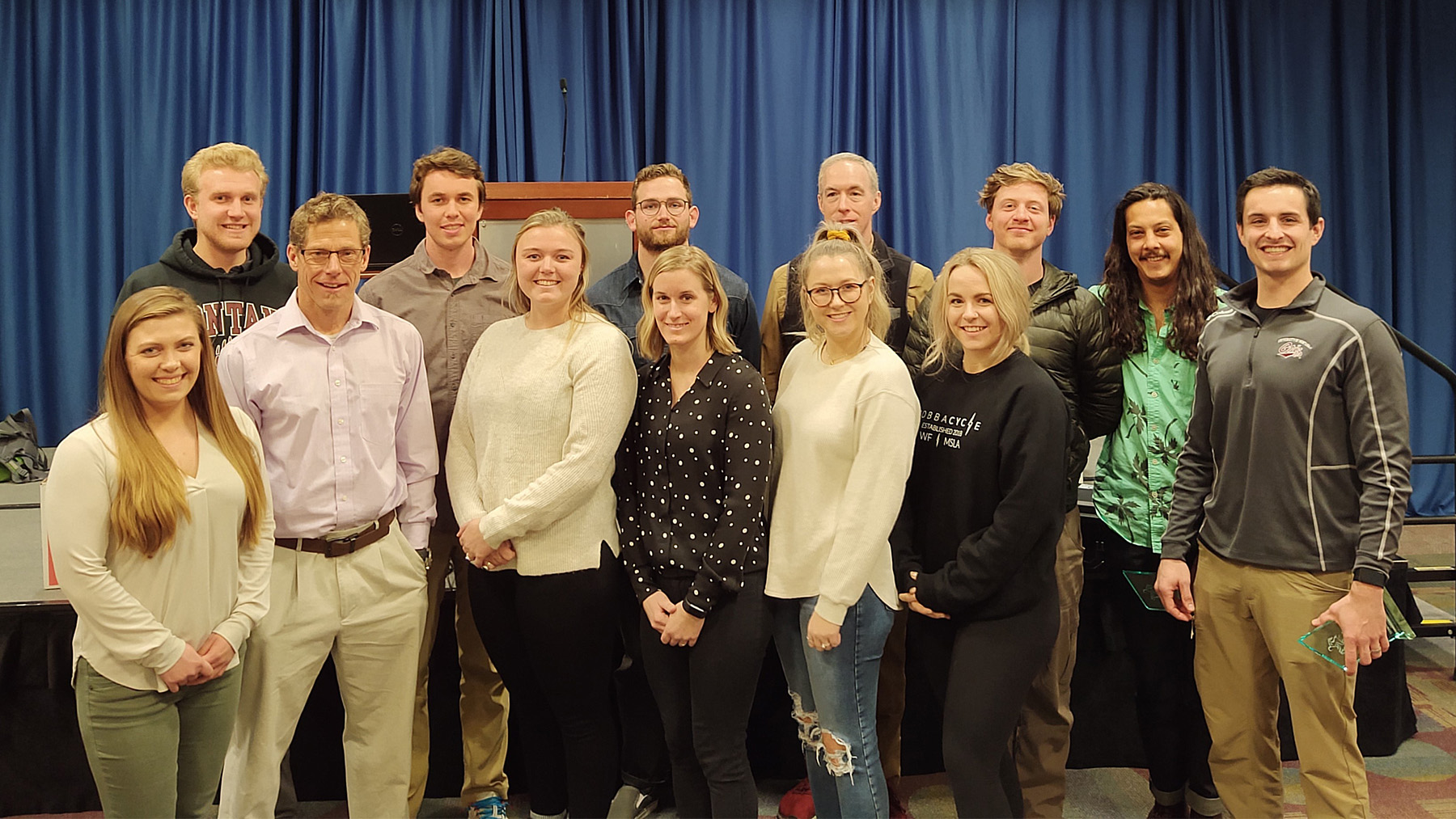 Group photo of Dr. John Quindry and students