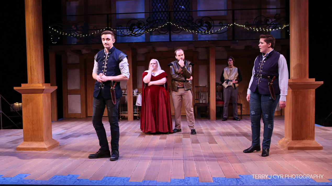 Actors on a stage playing characters in Twelfth Night. Photo by Terry Cyr.