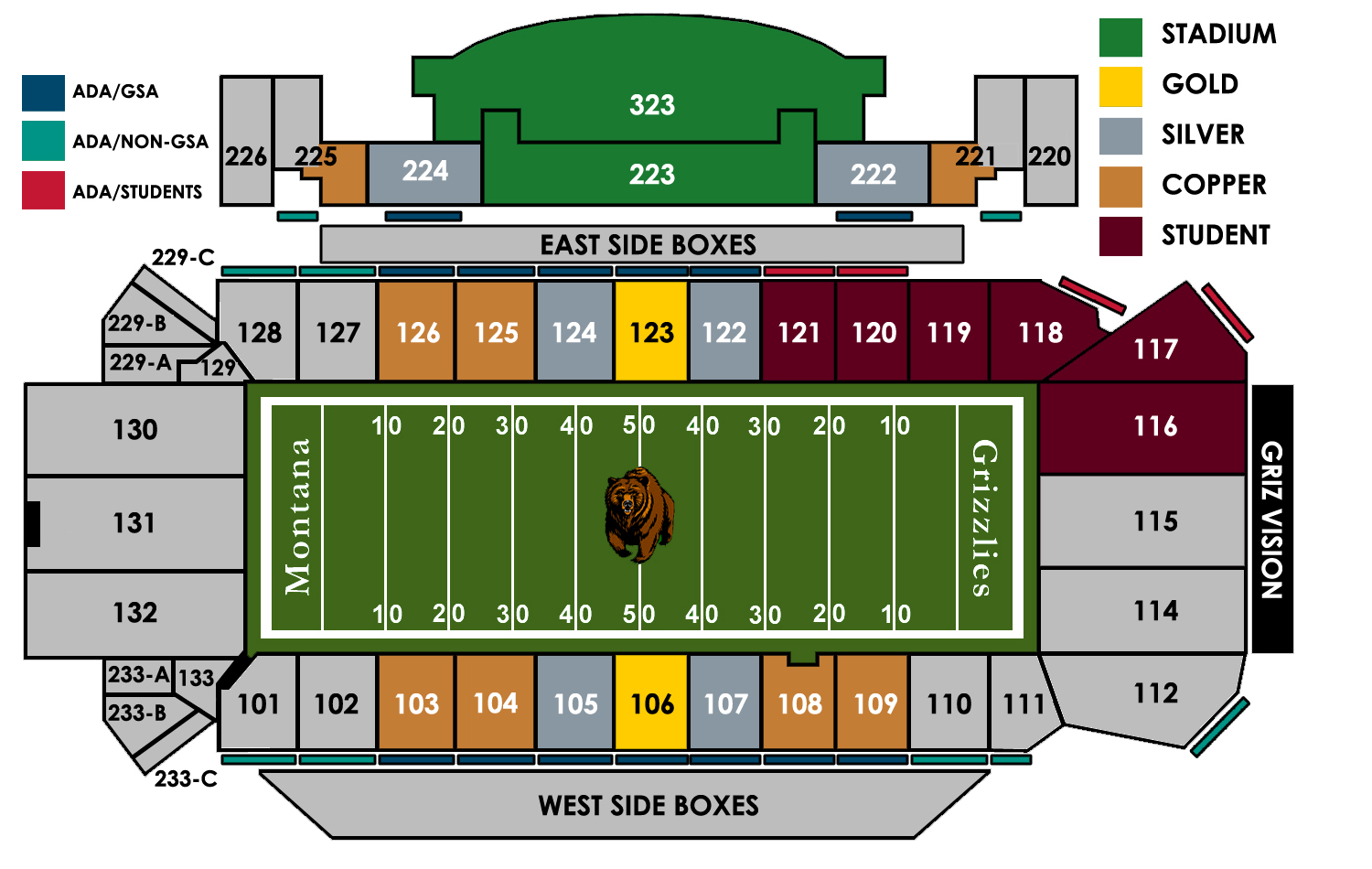 Image result for montana state football stadium seating chart