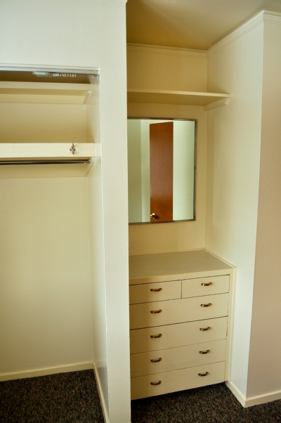 The Closet; Image Of The Closet And Vanity In An Elliott Village  One Bedroom Apartment.