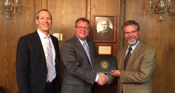 Clerk of Court Tyler Gilman, Chief Bankruptcy Judge Benjamin Hursh, and Dean Paul Kirgis