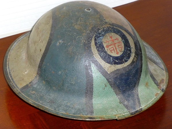 American WWI helmet worn by Army Medic, Private First Class Turner A. Ross. Courtesy Tom Ross.