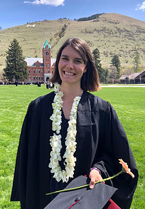Margaret Schaefers at her 2019 UM Commencement ceremony on the Oval.