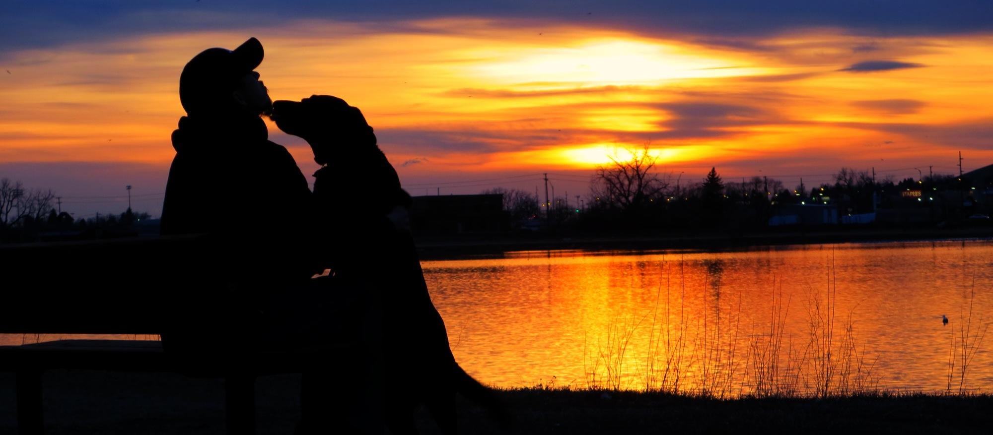 Ed and his dog Hallie at sunset