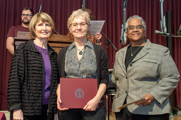 President Sheila Stearns, Mona Weer, and Provost Beverly Edmond