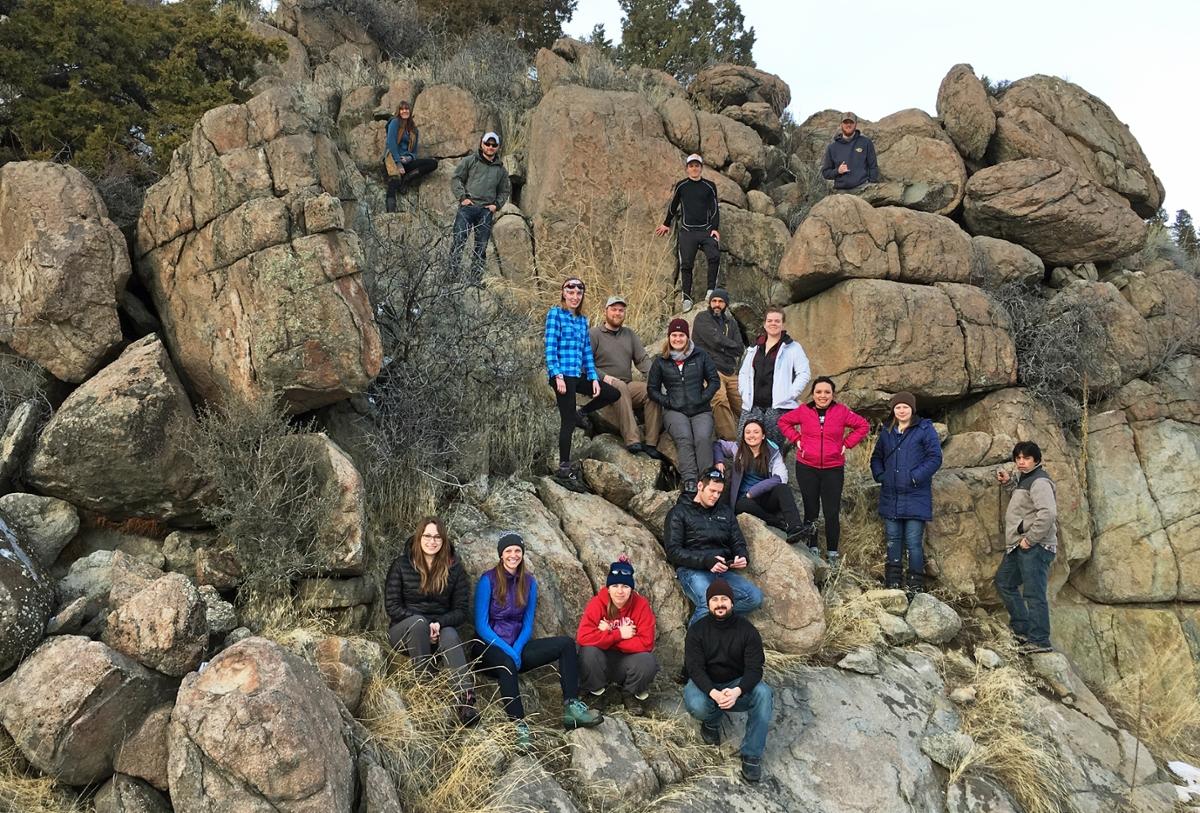 Students climbing the Boulder Batholith