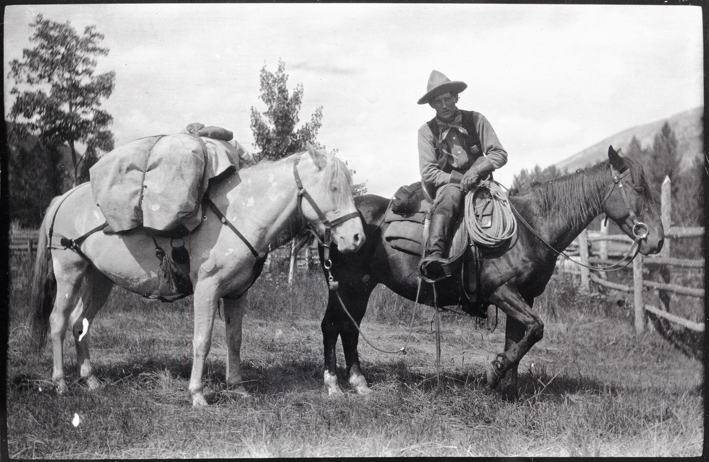 Ranger Clyde Fickes sits atop his horse, with another pack horse, in a meadow near the ranger station