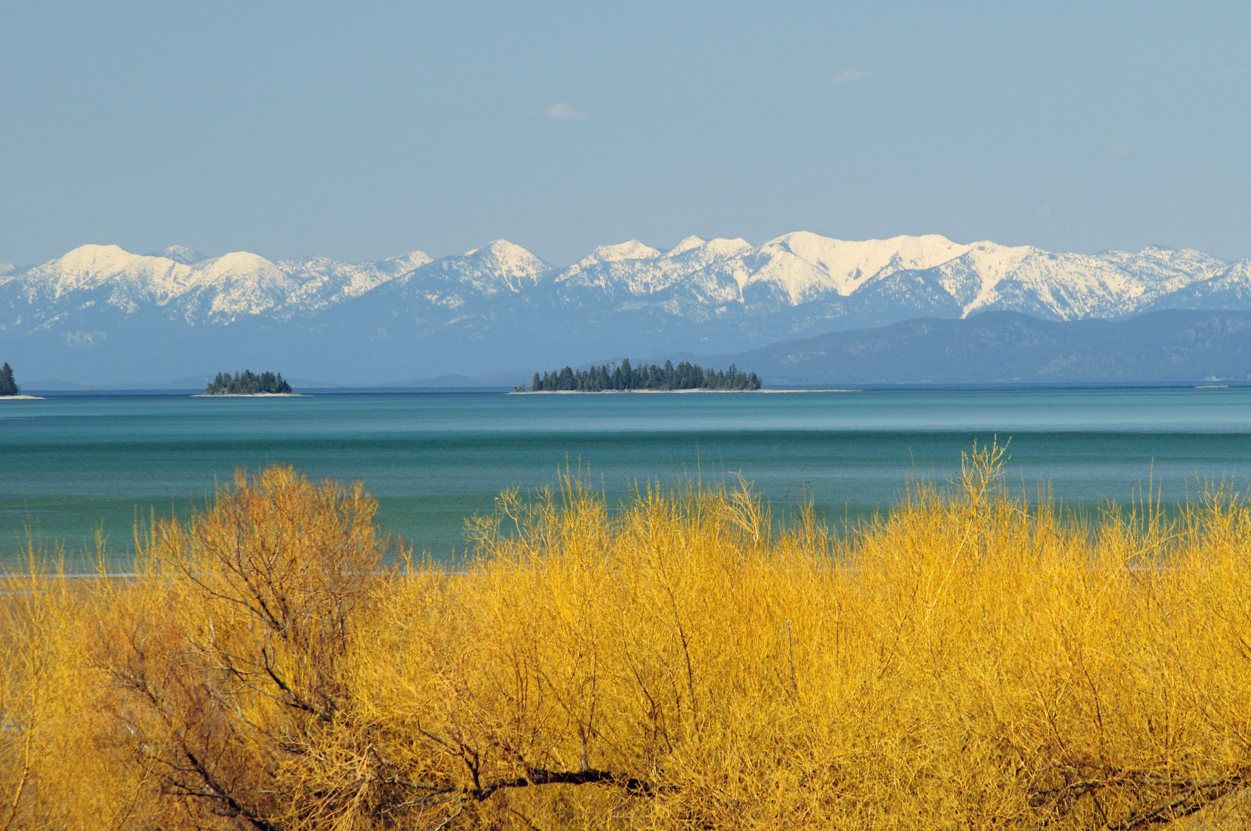Spring comes to Flathead Lake while the Swan Range is still cloaked in winter.
