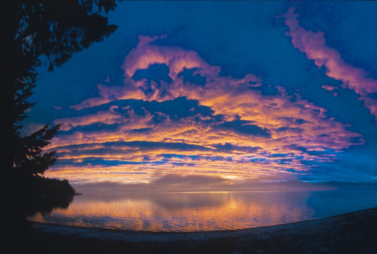 vibrant sunset over Flathead Lake