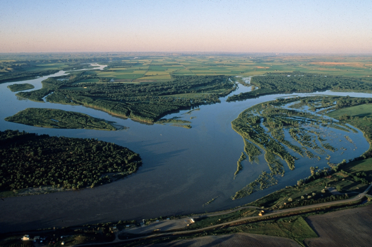 The Yellowstone and Missouri rivers merge near the Montana-North Dakota border.  (Photo by Larry Mayer)