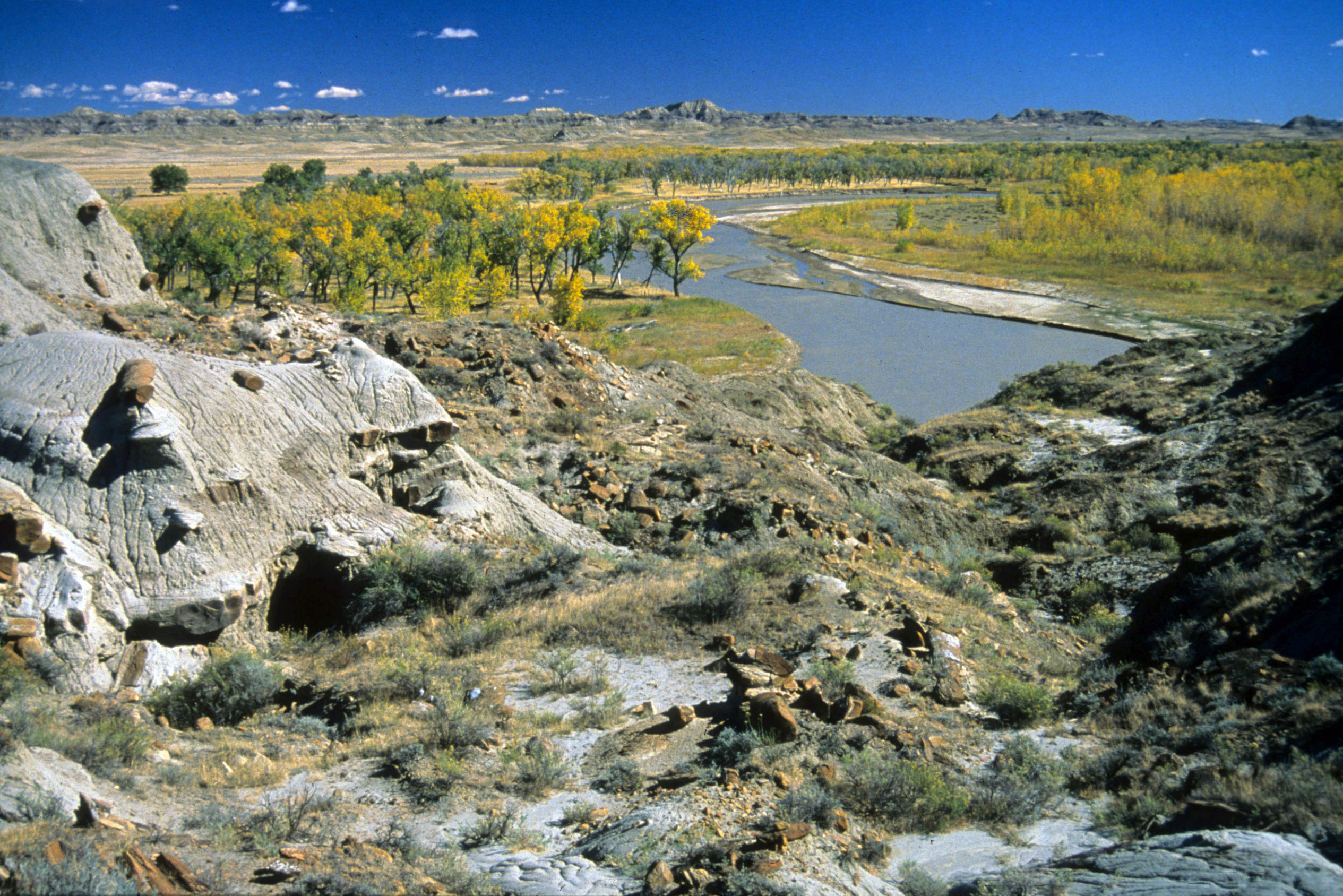 The Powder River meanders through remote prairie lands southeast of Miles City