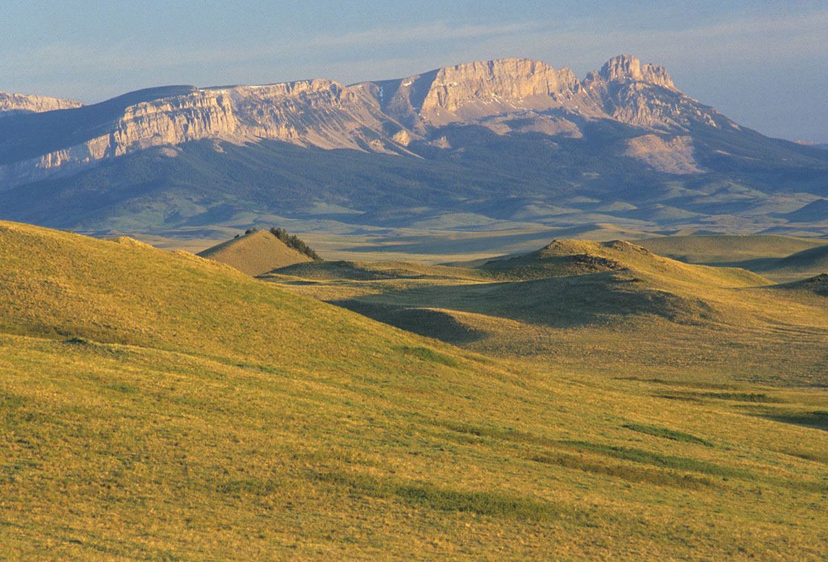 The Rocky Mountain Front's Sawtooth Reef stands tall among the foothills west of Augusta, Montana.