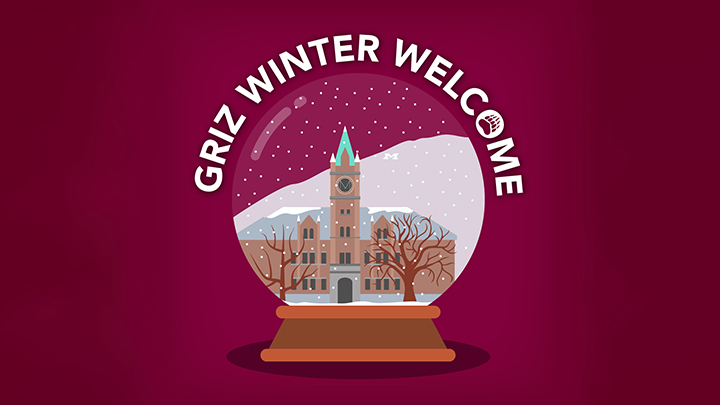 Griz Winter Welcome logo with snow globe containing UM's Main Hall