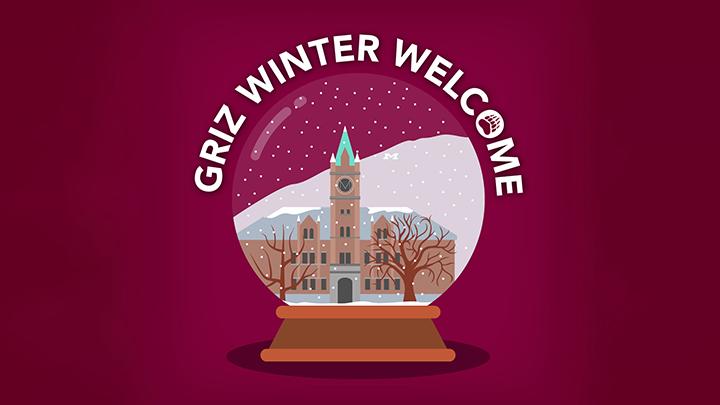 Griz Winter Welcome logo with snow globe containing UM's Main Hall