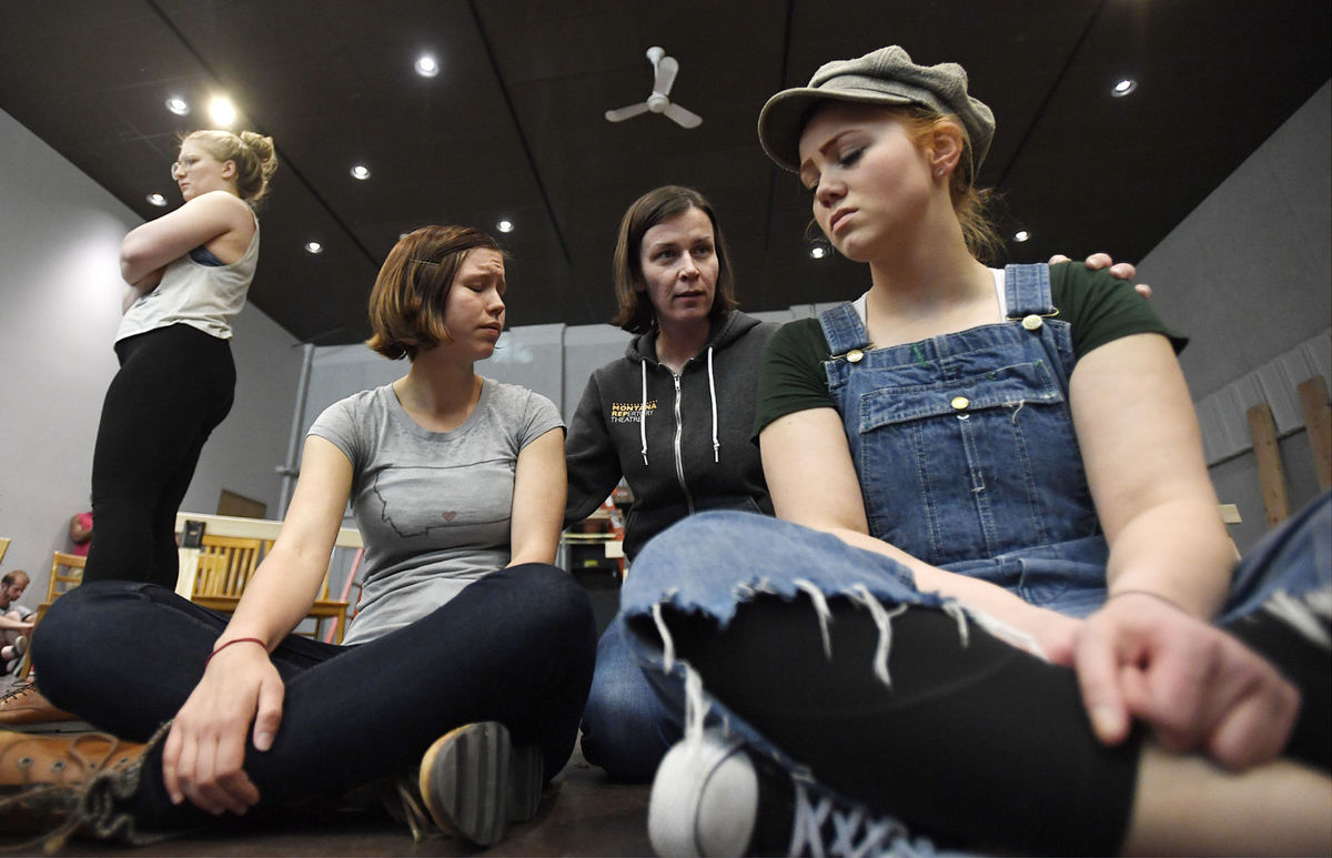 Montana Repertory Theatre actors sit on floor as they rehearse 'To Kill A Mockingbird' play