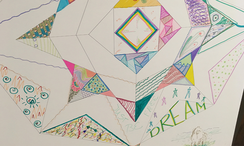 Arts Integration Drawing, abstract patterns and shapes in colored pencil, on white paper