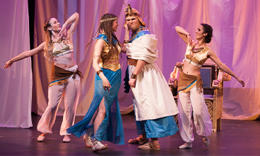 """UM's production """"Julius Caesar"""" featuring Nancy Greger, dancer; Kayla Marie Mudgett as Cleopatra; Jax Hassler as Ptolomey; and Emily Slike, dancer, won third place in the National Opera Association Collegiate Opera Competition."""