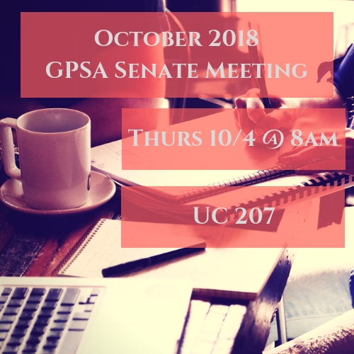 October Senate meeting will be held in UC 207 from 8-9 in the morning on Thursday, October 4th.