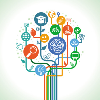 Graphic with multiple icons including a graduation hat, brain, pencil, computer.