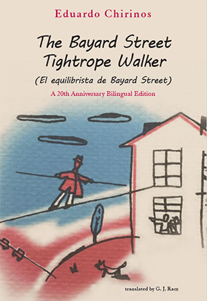 books cover with tightrope walker painting