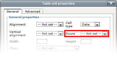 Tables cascade content management system university of for Table th scope row